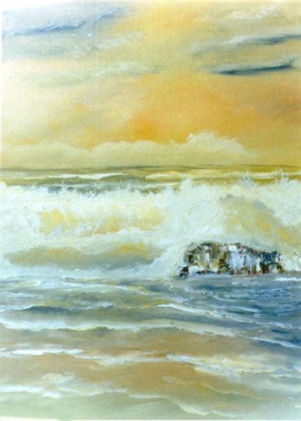 "Hawaiian Beaches art prints, Seascape oil painting, "" Golden Coast"",  by Hawaii beach artist Donald K. Hall #04"