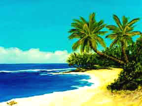 "Hawaii Beach  art, Hawaiian Art Print, Hawaiian Beaches,""Ssunset Beach Park"",  by Hawaii beach artist Donald  K. Hall #100"