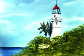 Hawaii Beach  art, Hawaiian Art Prints, landmark Diamond Head Lighthouse by Hawaii Artist Donald  K. Hall #10