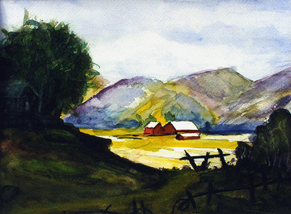 "hawaii art prints, landscapes,"" up country farm,"" original water color by hawaii artist Donald  K. Hall #111"