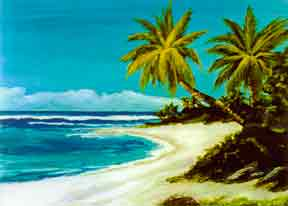 "Hawaii Beach  art, Hawaiian Beach art Print, Hawaiian Baeches,"" Sunset Beach"", by Hawaii Beach artist Donald K. Hall #113"