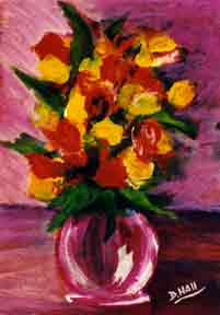 Tropical Flowers Still Life painting by hawaii artist Donald K. Hall #118