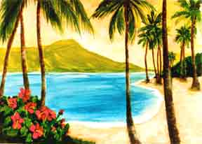 "Hawaii Beach  art, Hawaiian beach Art Prints, landscape Diamond Head,"" painting by Hawaii artist Donald K. Hall #127"