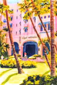 "HawHawaii Beach  art, aiian Art Prints, Hawaiian Landmarks,"" Royal hawaiian Hotel"",  by Hawaii Artist Donald K. Hall #131"