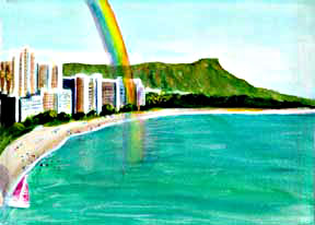 Hawaii Beach  art, Hawaiian Beach Art Prints, landscape Diamond Head Rainbow, original water color  painting by Hawaii Beach Artist Donald K. Hall #135