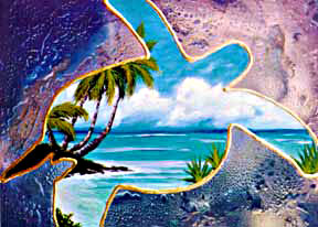 Hawaii Beach  art, Hawaiian Beaches Art Prints, Turtal Bay Seascape by Hawaii artist Donald K. Hall and Jurgen Aldag #144