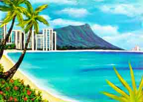 Hawaii Beach  art, Hawaiian Beaches Art Prints, landmark Waikiki Beach and Diamond Head by Hawaii beach artist Donald K. Hall #150