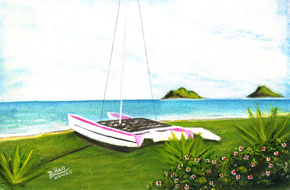 "Hawaii Beach  art, Hawaiian Beaches Art print, Hawaiian Beaches,"" Catamaran on Lanikai Beach"",  water color original  painting by Hawaii beach artist Donald K. Hall #166"
