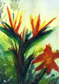 "Impressionist Art Print Painting, "" Bird of Paradise Flower"", by hawaii"