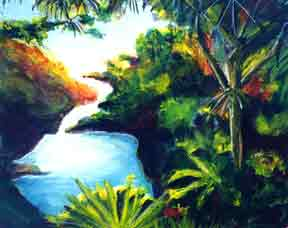 "hawaiian Art prints, hawaiian landmarks  ""Seven Sacred falls Maui"", by hawaii artsit Donald K. Hall #184"