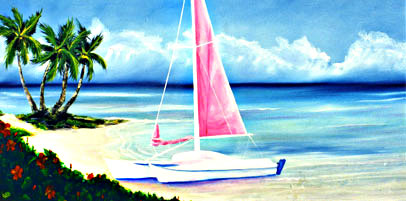 Hawaii Beach  art, Hawaiian art print Hawaii beach, Waimanalo State Park Oahu by Hawaii Beach Artist Donald K Hall #187