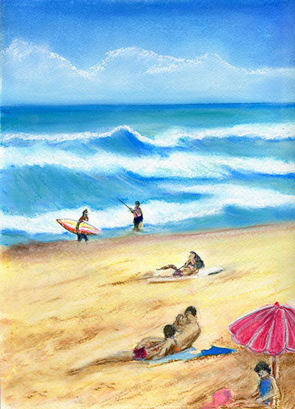 "Hawaii Beach  art, Hawaiian Beach Art Print, Hawaiian beaches ,""Waimea Beach Park"", original pastel painting by Hawaii beach artist Donald K. Hall #189"