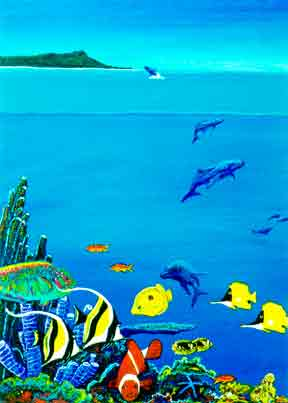 "Hawaii Beach  art, Hawaiian art prints, ""Hawaiian Reef,""  painting by Hawaii atist Donald K. Hall #193"