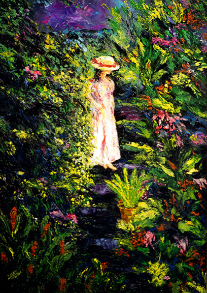 "Impressionist Art print painting, "" Enchanted Garden"", oil painting by Hawaii artist Donald K Hall #200"
