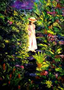 "Impressionist Art print painting, "" Enchanted Garden"", oil painting by hawaii"
