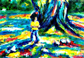 "Impressionist Art, ""Hawaiian Banyan Tree"", by Hawaii artist Donald K Hall #201"