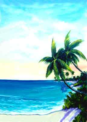 "Hawaii Beach  art, Hawaiian Beaches Art painting and Prints, ""Paradise Cove"",  original Oil painting by Hawaii beach Artist Donald K. Hall #203"