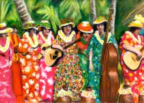 hawaiian Art Prints, Memories of Kodak Hula Show painting by Donald K. Hall #207