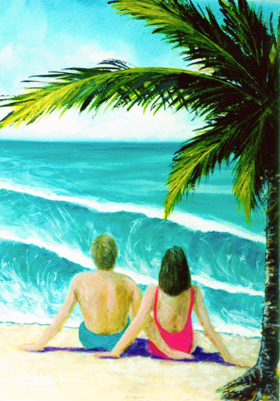 "Hawaii Beach  art, Hawaiian Beaches Art prints, ""Haleiwa Beach"",  original water color painting by Hawaii beach artist Donald K. Hall #211"