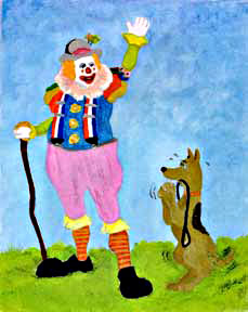 Clown #24 Going for a Walk by Hawaii artist Donald K. Hall