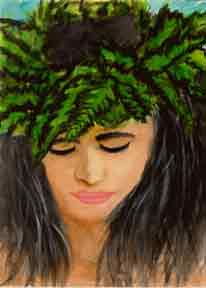 hawaiian Art Prints, Wahine painting by hawaii artsit Donald K. Hall #244