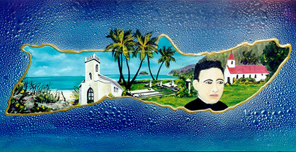 Father Damien, hawaiiana, original hawaiian Art Acrylic by hawaii artist Donald K. Hall #257