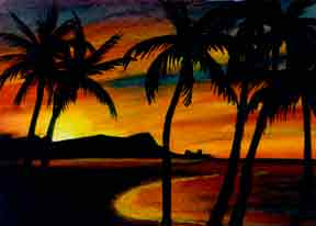 "Hawaii Beach  art, Hawaiian Beaches art prints, ""Diamond Head Sunrise,"" painting by Hawaii beach artist Donald K. Hall #266"