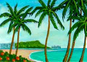 "Hawaii Beach  art for sale, Hawaiian Art Prints, landscape Diamond Head,"" by hawaii artist Donald K. Hall #273"