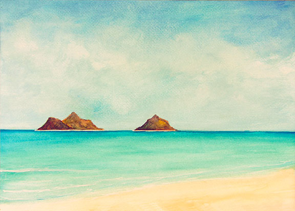 "Hawaii Beach  art, Hawaiian Beach Art prints, Hawaiian Beaches,"" Lanikai Beach"",  original pastel  painting by Hawaii beach artist Donald K. Hall #277"