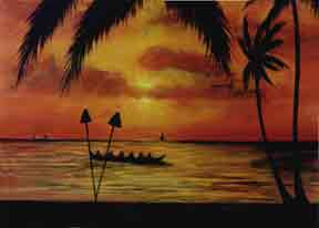 "hawaiian Art Prints, ""Sunset Paddlers,"" painting by hawaii artist Donald K. Hall #283"