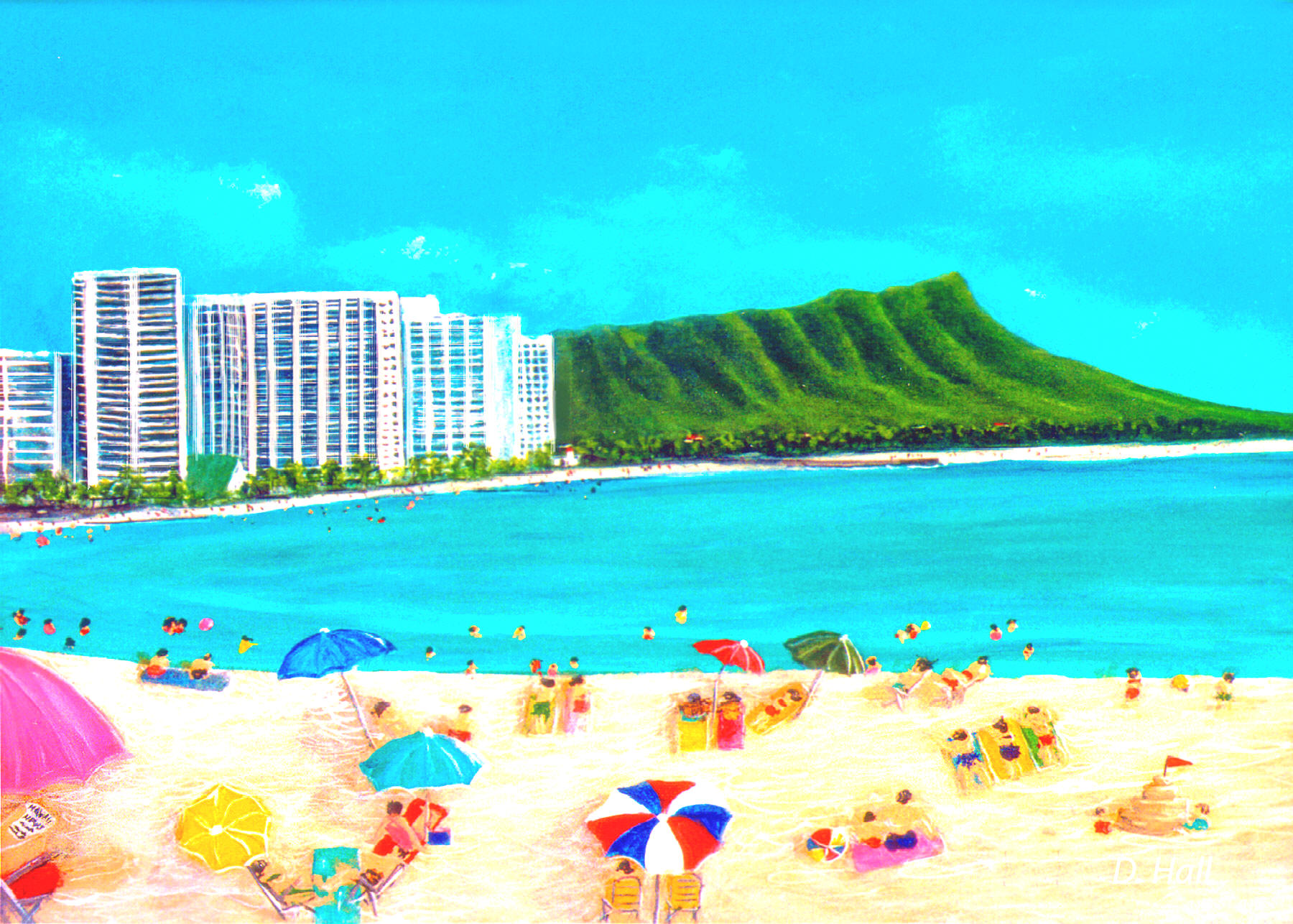 Hawaii Beach  art, Hawaiian Art Prints, landscape a day at Waikiki Beach, Diamond Head painting by Hawaii artist Donald K. Hall #285
