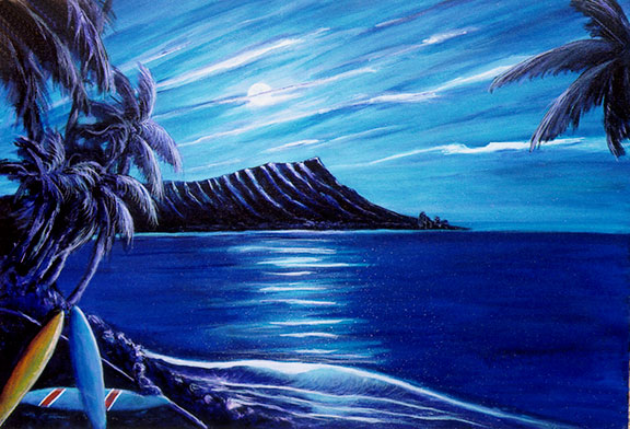 "Hawaii Beach  art, Hawaiian Beaches art prints, Diamond Head ""Last Wave,"" original acrylic painting by Hawaii art Donald K. Hall #288"