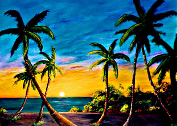 Hawaii Sunset and Sunrise Art - paintings by Hawaii artist Donald K. Hall.