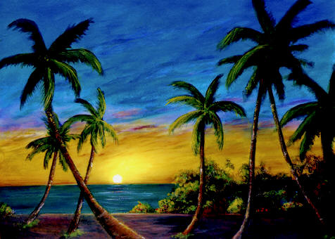"hawaiian Art prints, ""Ko Olina Sunset,""  painting by hawaii artist Donald K. Hall #299"
