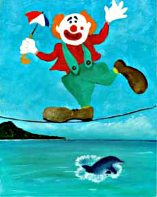 Clown #31 Tight Rope  by Hawaii artist Donald K. Hall
