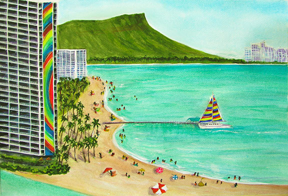 Hilton Hawaiian Villeve Rainbow Tower  art, Hawaiian Beach Art Prints, original watercolor painting by Hawaii artist Donald K. Hall #325