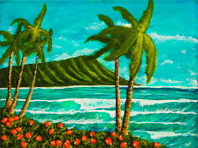 Hawaii Beach  art, Hawaiian Beaches Art Prints, landmark Waikiki Beach and Diamond Head original acrylic painting by Hawaii artist Donald K. Hall #328