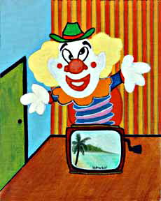 Clown #33 Jack in the Box, Cowboy Bob by Hawaii artist Donald K. Hall