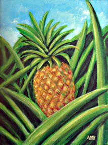 hawaii Art Prints, Pineapple painting by hawaii artist Donald K. Hall #332