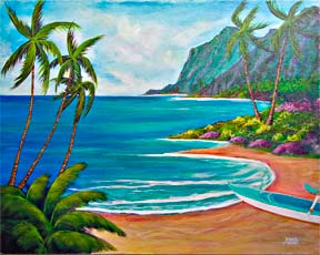 "Hawaii Beach  art, Hawaiian Beach Art Prints, Seascape, ""Paradise Found,"" original acrylic beach painting by Hawaii beach artist Donald K. Hall #333"
