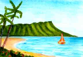 Hawaii Beach  art, Hawaiian Beach Art Prints, landmark Waikiki Beach and Diamond Head original acrylic painting by Hawaii Beach artist Donald K. Hall #334