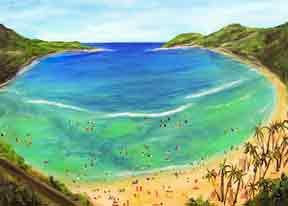 Hawaii Beach  art, Hawaii Beach  art, Hanauma Bay, Hawaiian Beach Art pprints,  original acrylic painting by Hawaii beach artist Donald K. Hall #336