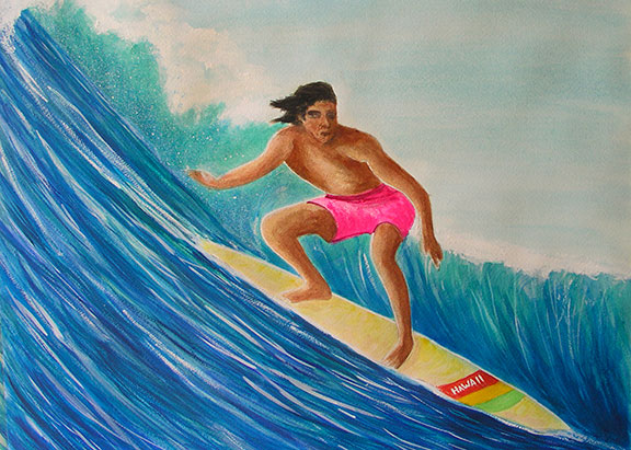 "Hawaii Beach  art, Hawaiian Beach Art Print, Sascape"" Big Wave Surfer,"" original acrylic painting by Hawaii beach artist Donald K. Hall #341"