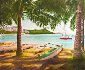 "Hawaii Beach  art print,  ""Diamond Head, Waikiki and Outrigger Canoe's"", Oahu, by Hawaii artist Donald K. Hall #344"