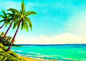 Hawaii Beach  art, Hawaii Beach Art Prints, Kaaawa Beach Oahu Hawaii painting by Hawaii beach artist Donald K. Hall #348