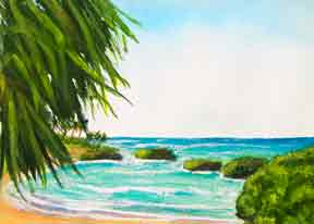 Hawaii Beach  art, Hawaii Beach Art Prints, Koolina Lagoon Oahu Hawaii painting by Hawaii beach artist Donald K. Hall #350