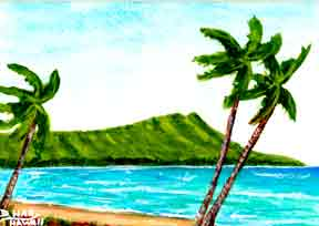 "Hawaii Beach  art, Hawaiian Beach Art Prints, landscape Diamond Head,"" painting by Hawaii artist Donald K. Hall #351"