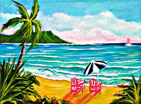"Hawaiian Beach  art Prints, ""Diamond Head & Waikiki Beach"",  by Hawaii Beach artist Donald K. Hall #354"