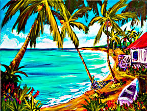 "Hawaiian Beach  art prints, Hawaii Tropical Beach, ""A day in Paradise Hawaii"",  by Hawaii Beach artist Donald K. Hall #355"