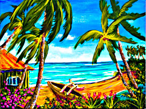 "Hawaiian Beach Art prints, ""A day in Paradise Hawaii"",  by Hawaii Beach artist Donald K. Hall #356"
